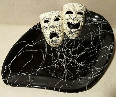 Marcia of California Mid-Century Modern Black White Squiggle Comedy Tragedy Mask