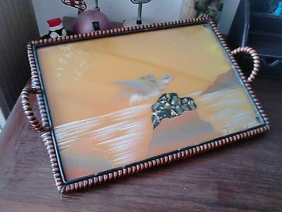 Vintage serving tray, glass, wood and wicker.