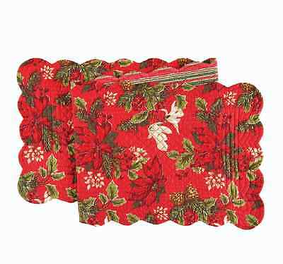 """POINSETTIA & PINES Christmas Quilted Reversible 51"""" C&F Table Runner"""