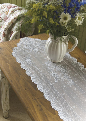 """Heritage Lace White FLORET Table Runner 14""""x 72"""""""