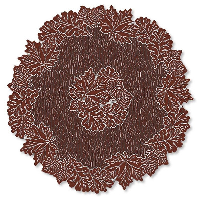 "Heritage Lace DARK PAPRIKA LEAF  36"" Round Table Topper - Fall, Autumn, Lodge"