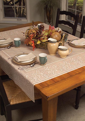 "Heritage Lace Cafe 58""x58""  OAK LEAF Table Topper - Oak Leaves & Acorns Border"