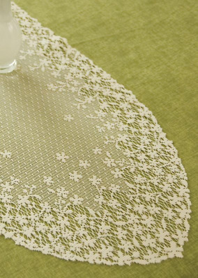 """Heritage Lace ECRU  BLOSSOM Table Runner 12"""" x 30"""""""