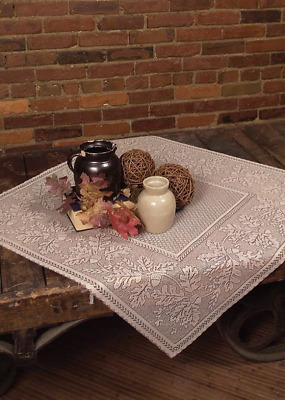 "Heritage Lace Cafe 36""x36""  OAK LEAF Table Topper - Oak Leaves & Acorns Border"