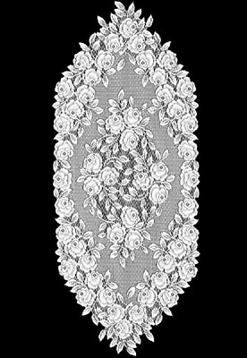 """Heritage Lace WHITE TEA ROSE Table Runner 14"""" x 36"""""""