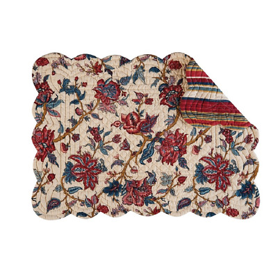 AVIGNON Quilted Reversible Placemat  by C&F - Flowers - Garnet Rose Blue Cream