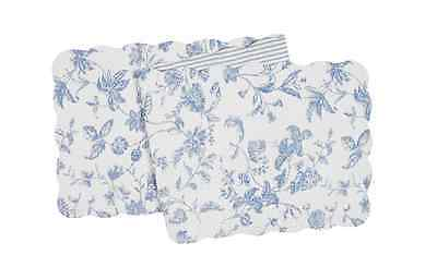 "BRIGHTON BLUE Quilted Reversible 51"" C&F Table Runner - Blue Floral, Ticking"