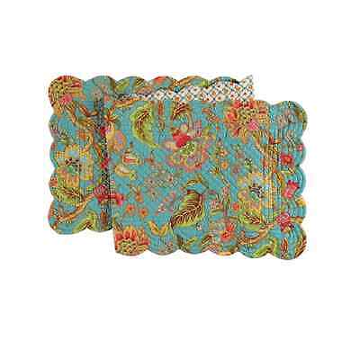 """JASLEEN Quilted Reversible 51"""" C&F Table Runner Turquoise, Pink, Green, Gold"""