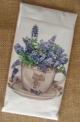 Flour Sack Towel Designed by Mary Lake Thompson - Bluebonnets in Teacup