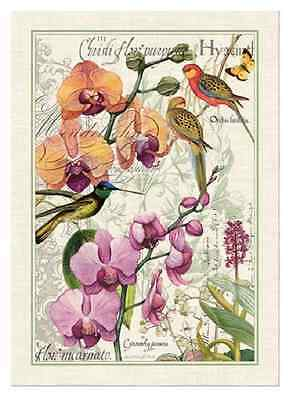 ORCHIDS IN BLOOM with Birds Cotton Kitchen Towel by  Michel Design Works