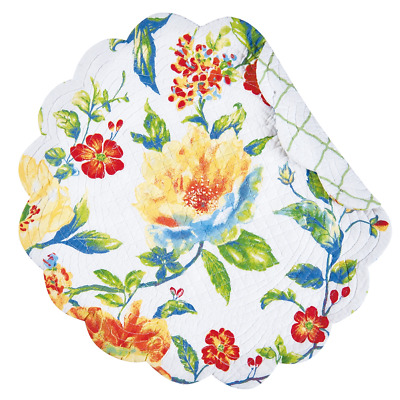 SABRINA Quilted Reversible Round Placemat - Flowers - Red, Blue, Green, Yellow