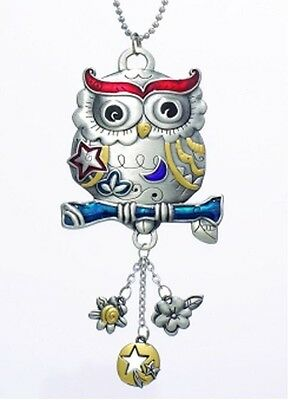 OWL Color Art Ganz Car Charm w/ Dangle Charms & Chain for Rearview Mirror