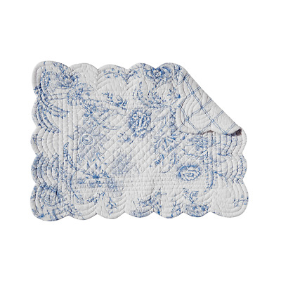 CLEMENTINA DUSK Quilted Reversible Placemat by C&F - Off-White, Blue Floral