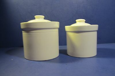"""Pfaltzgraff White Canister Set of 2 With Lids - 5 3/4"""" & 5""""- #503 & #504"""