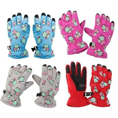 Kids Boys Girls 2-4 Yrs Waterproof Winter Thermal Fleece Ski Snow Mitts Gloves