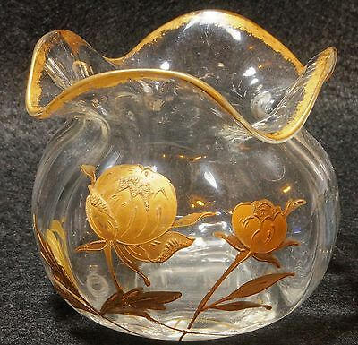 Beautiful Legras Antique Hand Blown Decorated Art Glass Rose Bowl
