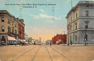 Columbia South Carolina Main Street Scene Historic Bldgs Antique Postcard K48936