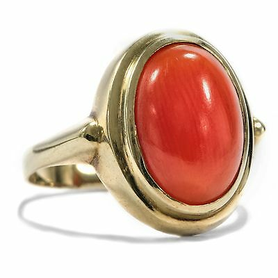 Antiker Art Déco RING mit KORALLE 333 Gold Ring Korallenring Korallen Coral Ring