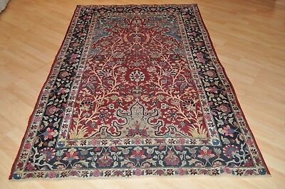 19th Century Antique Persian 5' x 7' Kerman rug authentic handmade hand knotted