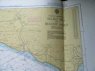 "1976 SELSEY BILL to BEACHY HEAD Bognor Regis Eastbourne SEA MAP Chart 28"" x 47"""