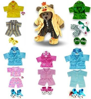 Teddy Bear Clothes fits Build a Bear Pj's Robe Slipper Gift Sets Suitcase option