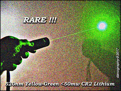 SUPERB 520nm  50mw Yellow-Green Key Operated Laser (no button) w/CR2 +Leather CS