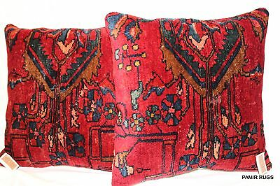 DECORATIVE Vintage Handmade Pair of Persian Lilihan Sarouk Pillow pre 1900