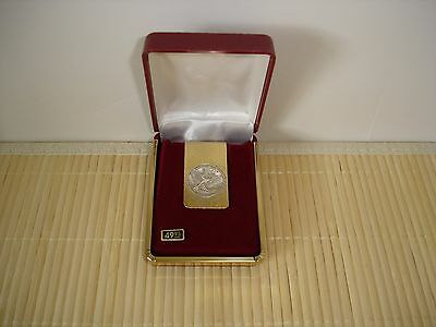 Vintage Money Clip Silver Eagle 2 Gram .999 Mounted on Gold Plated Clip New!!