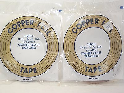 """Lot of 2 Copper Foil Tape 2 sizes Stained glass Vintage? 7/32"""" and 3/15"""""""