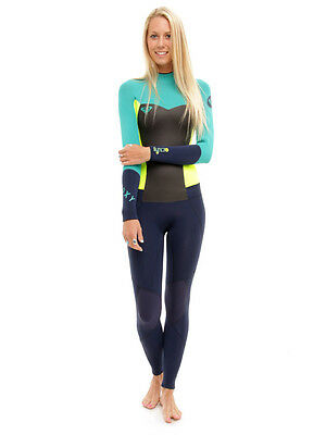 Quiksilver Roxy Womens Teal Green Blue 3/2 Syncro BZ F Full Size 6 NWT $200