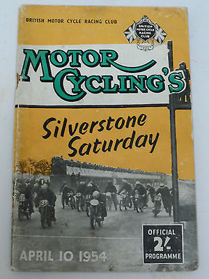 Silverstone Saturday -  April 10th 1954 motorcycle programme