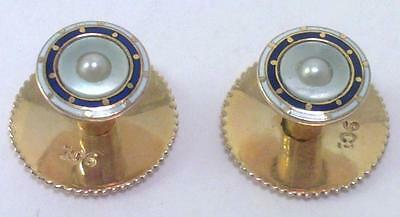 Cased Pair of Antique 9 ct Gold Shirt Studs with Enamel & Seed Pearls–circa 1910