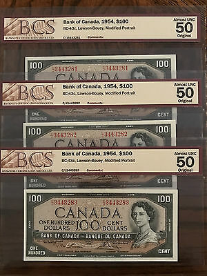1954 Modified Portrait 3 Consecutive $100 Bank of Canada BC-43c Graded Notes
