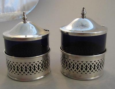 Pair Sterling & Cobalt Blue Glass Mustard Salt Pots Webster