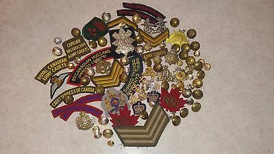Post WW2 WWII Canadian 1950's Queen Crown Cloth Flashes Titles Buttons Crowns