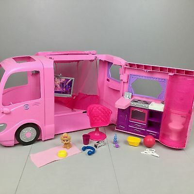 BARBIE GLAMOUR CAMPER Pop-Out Tent Sounds Accessories RV Vehicle VGUC 2008