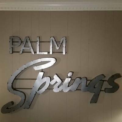 Palm Springs Large Vintage Industrial Style  Script Metal Sign MADE IN THE USA
