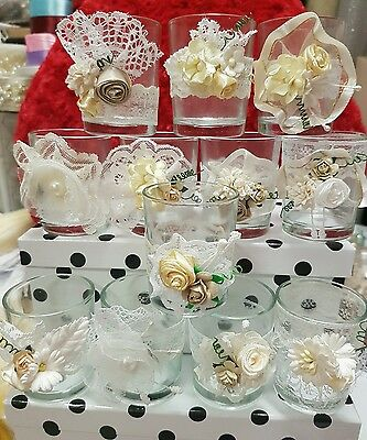 12 Clear Glass Votive Candle Holders  Shabby Chic