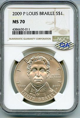 2009 P Louis Braille Silver Dollar NGC & QA MS 70 - Philadelphia Mint - AE906