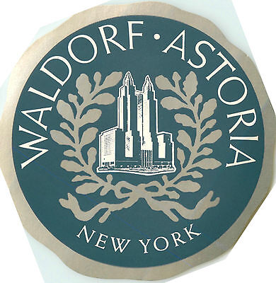 The Waldorf Astoria Hotel ~NEW YORK CITY~ Great Old Luggage Label, c. 1955