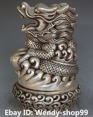 """8"""" Marked Chinese Silver Carving Dragon Incense Burner Censer Incensory Statue"""