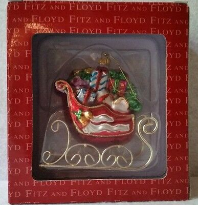 Fitz And Floyd Glass Ornament Santa's Sleigh With Presents & Toys - New In Box