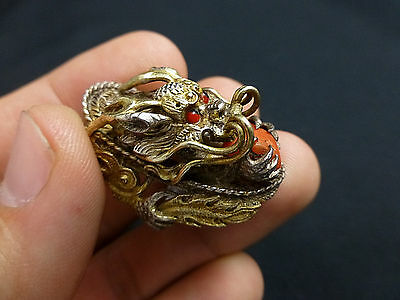 Stunning Vintage Chinese Dragon and Coral Gilt Silver Ring Size 7 3/4