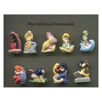 Retired Set Of 9 Mythical Mermaid Miniature Porcelain Figurines *exclusivity*