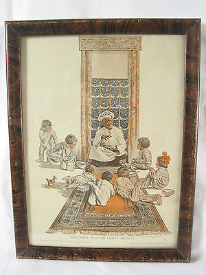 """Framed Cream of Wheat Print Ali Baba And The Forty Thieves 1914 10"""" x 14"""""""
