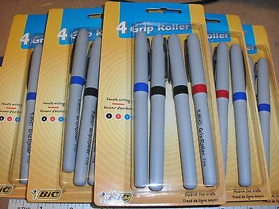 4 Bic grip roller pens 2 Black 1 Red 1 Blue soft comfort grip