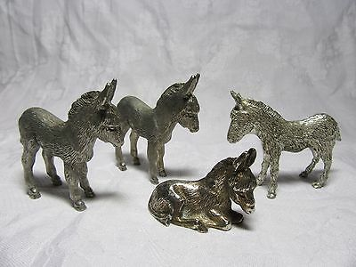 4 x Silver Plated DONKEYS Including J G MOORE Signed Hantal Figure