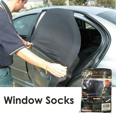 Car Rear Side Window Socks Sun Shade Black Mesh SUV UV Protection Large pair sox
