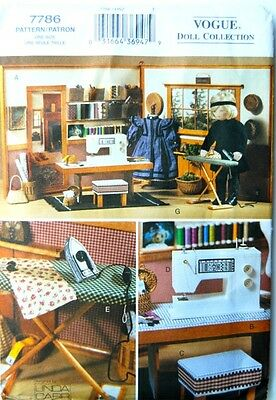 "Vogue 7786 18"" Doll Pattern Sewing Room Sewing Machine Iron Linda Carr Uncut"