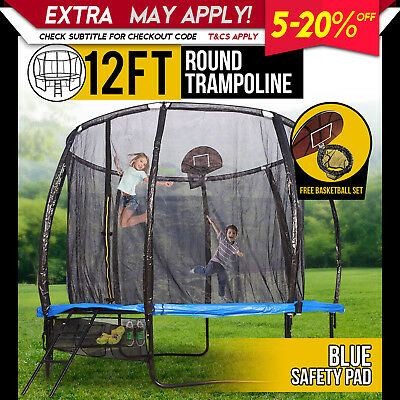 New 12FT Trampoline Round with Spring Mat Safety Net Ladder
